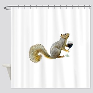 Squirrel with Wine Shower Curtain