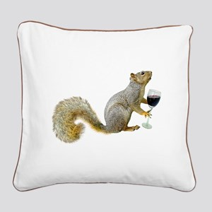 Squirrel with Wine Square Canvas Pillow