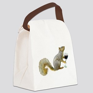 Squirrel with Wine Canvas Lunch Bag