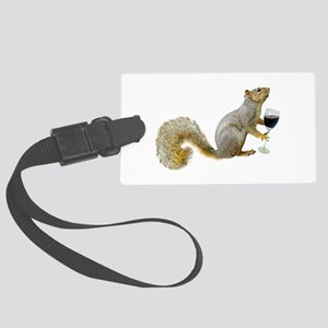 Squirrel with Wine Large Luggage Tag