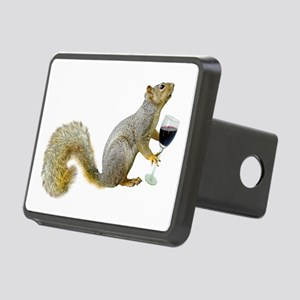 Squirrel with Wine Rectangular Hitch Cover