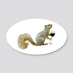 Squirrel with Wine Oval Car Magnet