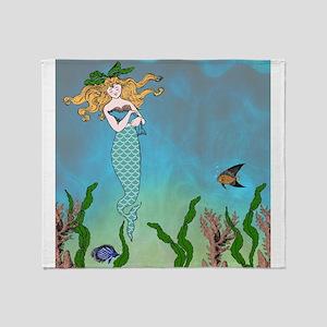 Vintage Mermaid Throw Blanket