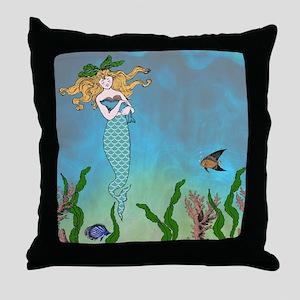 Vintage Mermaid Throw Pillow