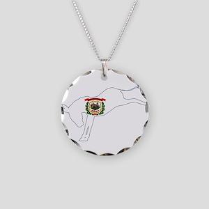 West Virginia Democrat Donke Necklace Circle Charm