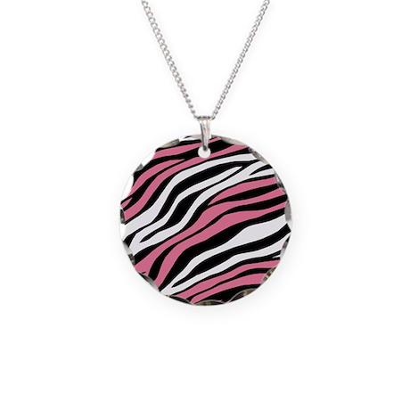 Zebra Print Mix Pink Necklace Circle Charm