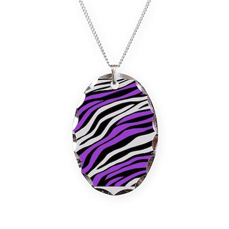 Zebra Print Mix Purple Necklace Oval Charm
