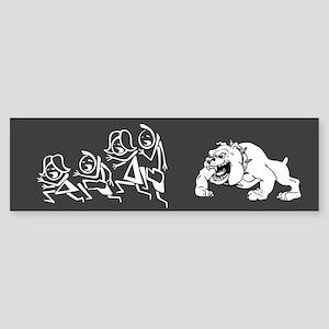 Dog Chasing Stick Family Bumper Sticker