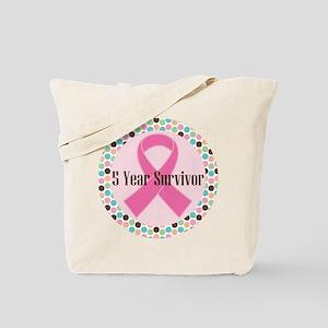 5 Year Breast Cancer Survivor Ribbon Tote Bag