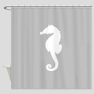 Grey Seahorse Shower Curtain