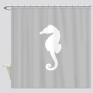 Grey Seahorse Shower Curtain
