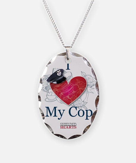 """""""I Love My Cop"""" Shielded Hearts Necklace"""