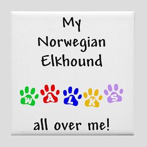 Norwegian Elkhound Walks Tile Coaster