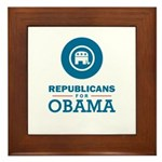 Republicans for Obama Framed Tile