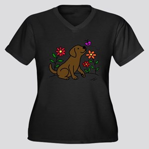 Chocolate Labrador and Green Women's Plus Size V-N