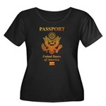 PASSPORT(USA) Women's Plus Size Scoop Neck Dark T-