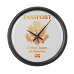 PASSPORT(USA) Large Wall Clock