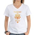 PASSPORT(USA) Women's V-Neck T-Shirt
