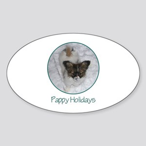 Pappy Holidays (puppy) Oval Sticker