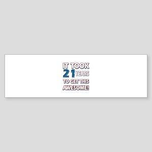 21 Year Old birthday gift ideas Sticker (Bumper)