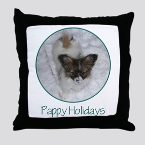 Pappy Holidays (puppy) Throw Pillow