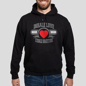 Inhale Love, Exhale Gratitude Hoodie (dark)