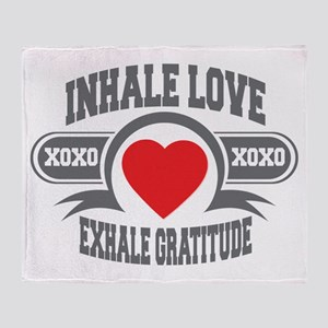 Inhale Love, Exhale Gratitude Throw Blanket