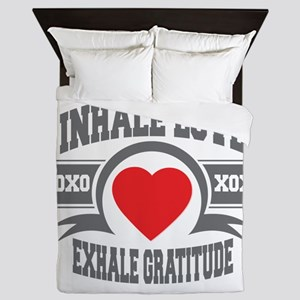 Inhale Love, Exhale Gratitude Queen Duvet