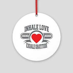Inhale Love, Exhale Gratitude Ornament (Round)