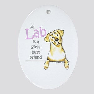 Yellow Lab BF Ornament (Oval)