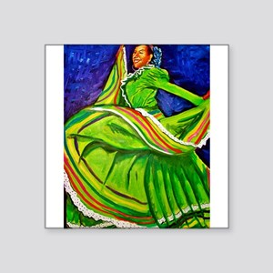 "Woman in Green Dress Square Sticker 3"" x 3"""