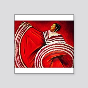 "Woman in Red Dress Square Sticker 3"" x 3"""