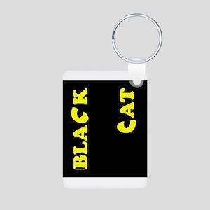 Black Cat (yellow) Aluminum Photo Keychain