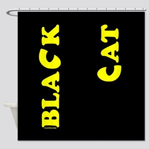 Black Cat (yellow) Shower Curtain