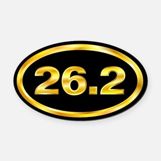 Gold 26.2 Marathon Runner Oval Car Magnet