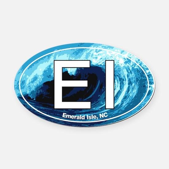 Emerald Isle.EI.wave.jpg Oval Car Magnet