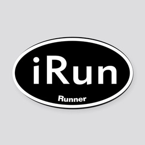 iRunBLACK Oval Car Magnet