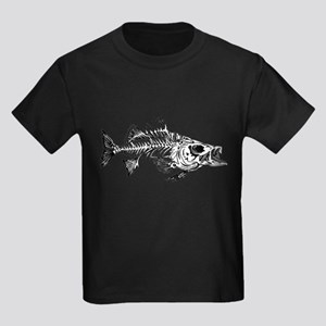 Striped Bass Skeleton Kids Dark T-Shirt