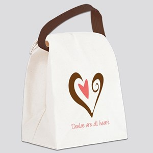 DoulaHeartBrown450 Canvas Lunch Bag