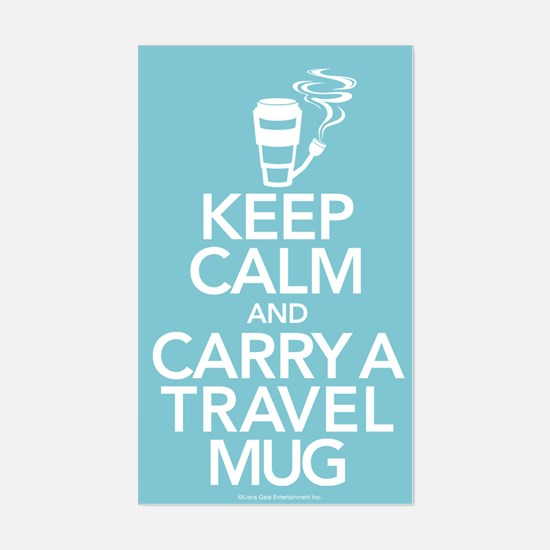 Keep Calm and Carry Travel Mug Sticker (Rectangle)