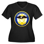 USS MACDONOU Women's Plus Size V-Neck Dark T-Shirt