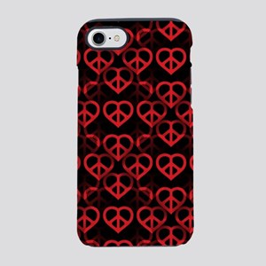 Red Peace Hearts iPhone 7 Tough Case