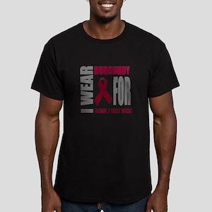 Burgundy Awareness Rib Men's Fitted T-Shirt (dark)
