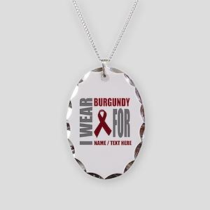 Burgundy Awareness Ribbon Cust Necklace Oval Charm