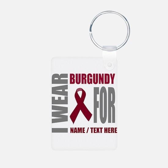 Burgundy Awareness Ribbon Aluminum Photo Keychain