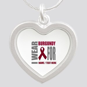 Burgundy Awareness Ribbon Cu Silver Heart Necklace