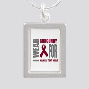 Burgundy Awareness Ribbo Silver Portrait Necklace