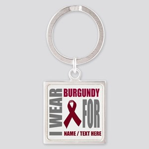 Burgundy Awareness Ribbon Customiz Square Keychain