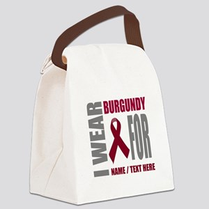 Burgundy Awareness Ribbon Customi Canvas Lunch Bag