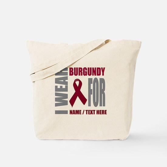 Burgundy Awareness Ribbon Customized Tote Bag
